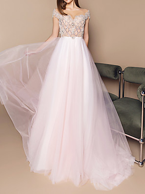cheap Prom Dresses-A-Line Luxurious Engagement Formal Evening Dress Illusion Neck Sleeveless Court Train Tulle with Crystals Beading Sequin 2020