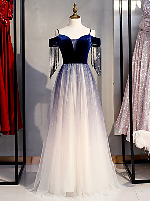 cheap Prom Dresses-A-Line Glittering Blue Prom Formal Evening Dress Off Shoulder Short Sleeve Floor Length Tulle Velvet with Crystals Sequin 2020