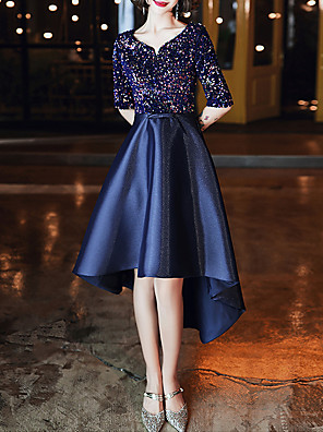 cheap Prom Dresses-A-Line Glittering Blue Cocktail Party Prom Dress Jewel Neck Half Sleeve Asymmetrical Satin with Sequin 2020