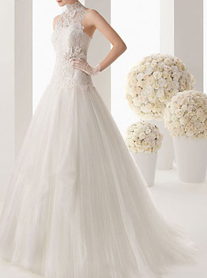 cheap Wedding Dresses-A-Line Wedding Dresses High Neck Sweep / Brush Train Lace Sleeveless Formal See-Through with Embroidery 2020