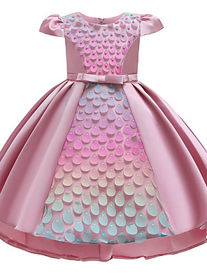 cheap Girls' Dresses-Kids Girls' Active Sweet Patchwork Pear Cut Short Sleeve Asymmetrical Dress Blushing Pink