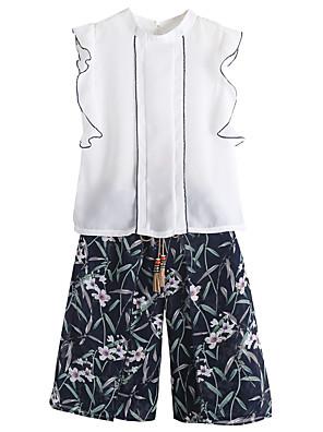 cheap Girls' Dresses-Kids Girls' Active Basic School Daily Wear Print Solid Colored Ruffle Sleeveless Regular Clothing Set White