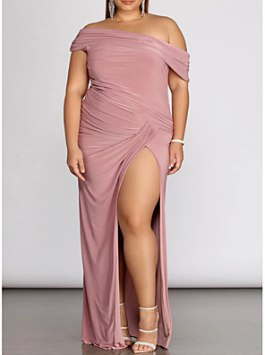 cheap Prom Dresses-Sheath / Column Plus Size Pink Prom Formal Evening Dress One Shoulder Sleeveless Floor Length Spandex with Pleats Split 2020