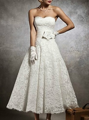 cheap Wedding Dresses-A-Line Strapless Tea Length Lace Sleeveless Formal Little White Dress Wedding Dresses with Appliques 2020