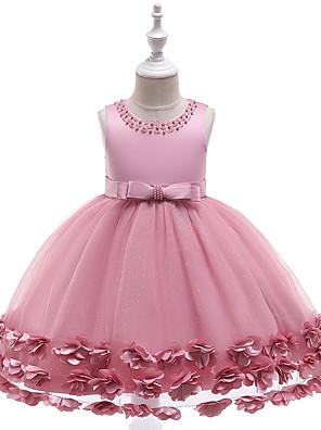 cheap Girls' Dresses-Kids Girls' Active Sweet Solid Colored Beaded Sleeveless Knee-length Dress Wine