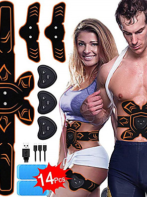 cheap Gymnastics-Abs Stimulator Abdominal Toning Belt EMS Abs Trainer Sports Silicon PU (Polyurethane) ABS Resin Exercise & Fitness Gym Workout Smart Electronic Muscle Toner Muscle Toning Tummy Fat Burner For Men