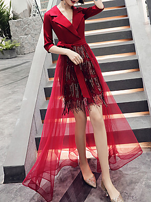 cheap Cocktail Dresses-Sheath / Column Hot Red Party Wear Prom Dress V Neck Half Sleeve Asymmetrical Tulle Sequined with Sequin Tassel 2020