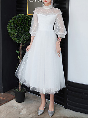 cheap Prom Dresses-A-Line White Retro Graduation Cocktail Party Dress High Neck Half Sleeve Tea Length Tulle with Pleats 2020 / Illusion Sleeve