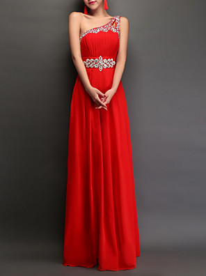 cheap Prom Dresses-A-Line Empire Red Engagement Prom Dress One Shoulder Sleeveless Floor Length Polyester with Crystals 2020