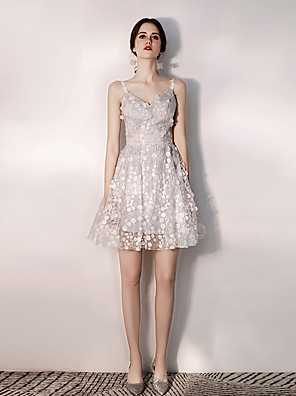cheap Cocktail Dresses-A-Line Floral Grey Graduation Cocktail Party Dress V Neck Sleeveless Short / Mini Tulle with Appliques 2020