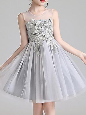 cheap Flower Girl Dresses-Kids Girls' Solid Colored Dress Gray