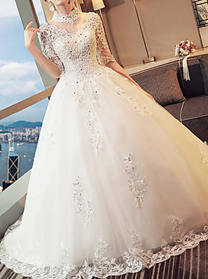 cheap Wedding Dresses-A-Line High Neck Sweep / Brush Train Lace 3/4 Length Sleeve Beach Wedding Dresses with Lace Insert / Embroidery 2020