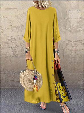cheap Prom Dresses-Women's Plus Size A-Line Dress Maxi long Dress - Half Sleeve Patchwork Button Print Summer Casual Holiday Vacation Loose 2020 Wine Red Yellow Green Navy Blue Gray L XL XXL XXXL XXXXL XXXXXL