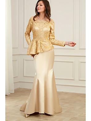 cheap Evening Dresses-Mermaid / Trumpet Peplum Gold Wedding Guest Formal Evening Dress Jewel Neck Long Sleeve Floor Length Charmeuse with Appliques 2020