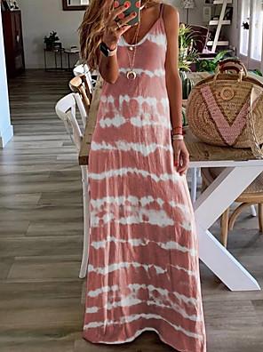 cheap Women's Dresses-Women's Maxi A Line Dress - Sleeveless Color Block Tie Dye Spring Summer Strap Maxi Dress Vacation Beach Wine Blue Purple Blushing Pink Khaki Gray Light Blue S M L XL XXL XXXL XXXXL XXXXXL
