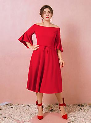 cheap Plus Size Dresses-A-Line Plus Size Red Engagement Cocktail Party Dress Off Shoulder 3/4 Length Sleeve Tea Length Spandex with Bow(s) 2020