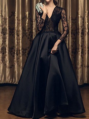 cheap Cocktail Dresses-A-Line Wedding Dresses V Neck Floor Length Satin Long Sleeve Beach Black Illusion Sleeve with Lace Insert Embroidery 2020