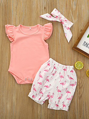 cheap Girls' Dresses-Baby Girls' Active Basic Flamingos Print Solid Colored Print Short Sleeve Regular Regular Clothing Set Blushing Pink