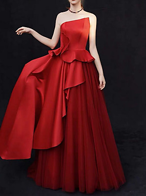 cheap Wedding Dresses-A-Line Wedding Dresses Strapless Sweep / Brush Train Satin Strapless Sexy Plus Size Red Modern with Ruffles Draping 2020