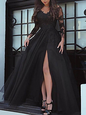 cheap Wedding Dresses-A-Line Wedding Dresses Bateau Neck Sweep / Brush Train Lace Long Sleeve Formal Black Red with Split Front 2020