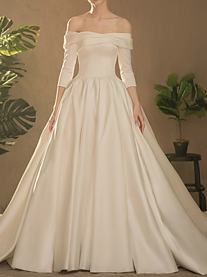 cheap Prom Dresses-Ball Gown Wedding Dresses Off Shoulder Watteau Train Satin Half Sleeve Simple Elegant with Ruched Side-Draped 2020