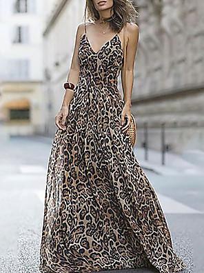 cheap Print Dresses-Women's Maxi Swing Dress - Sleeveless Leopard Strap Fuchsia Brown Navy Blue S M L XL