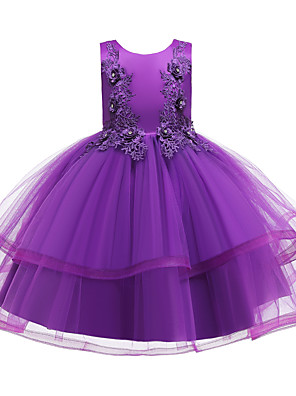 cheap Girls' Dresses-Kids Toddler Girls' Active Cute Floral Solid Colored Beaded Bow Layered Sleeveless Knee-length Dress Wine