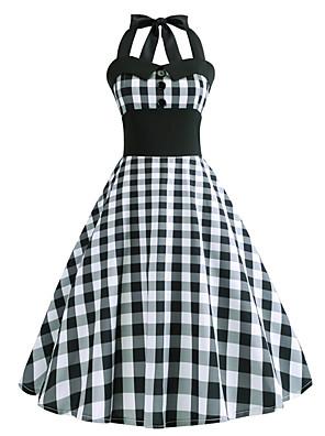 cheap Women's Dresses-Women's A Line Dress - Sleeveless Check Halter Neck V Neck Black S M L XL XXL