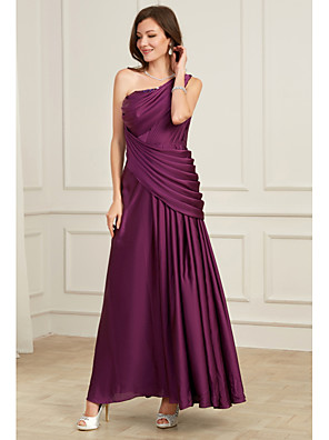 cheap Wedding Dresses-A-Line Elegant Purple Wedding Guest Formal Evening Dress One Shoulder Sleeveless Floor Length Tulle Polyester with Pleats Ruched 2020