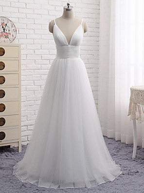 cheap Prom Dresses-A-Line Minimalist White Engagement Formal Evening Dress V Neck Sleeveless Floor Length Tulle with Pleats 2020