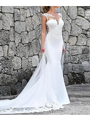 cheap Wedding Dresses-Mermaid / Trumpet Wedding Dresses Jewel Neck Court Train Polyester Sleeveless Country Plus Size with Lace Insert Appliques 2020