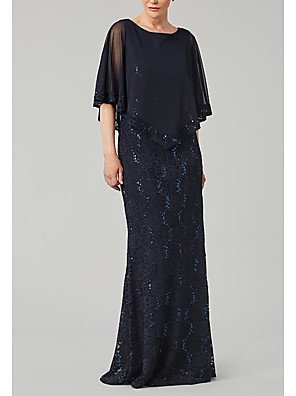 cheap Romantic Lace Dresses-Sheath / Column Mother of the Bride Dress Elegant Jewel Neck Floor Length Chiffon Polyester Half Sleeve with Sequin 2020