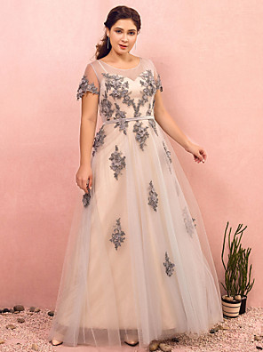 cheap Prom Dresses-A-Line Plus Size Grey Prom Formal Evening Dress Illusion Neck Short Sleeve Floor Length Lace Satin Tulle with Sash / Ribbon Appliques 2020 / Illusion Sleeve