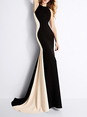 cheap Evening Dresses-Sheath / Column Elegant Black Engagement Formal Evening Dress Jewel Neck Sleeveless Sweep / Brush Train Polyester with Draping 2020