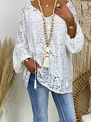 cheap Prom Dresses-Women's Floral Lace Hollow Out Loose Blouse - Lace Casual Daily V Neck White