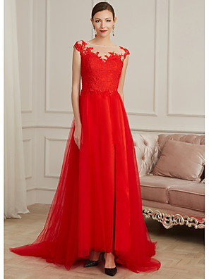 cheap Mother of the Bride Dresses-Sheath / Column Elegant Red Engagement Formal Evening Dress Illusion Neck Sleeveless Sweep / Brush Train Lace Tulle with Split Appliques 2020
