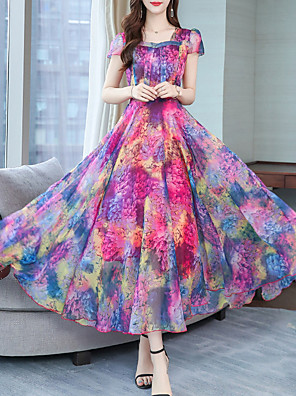cheap Evening Dresses-Women's Maxi Swing Dress - Short Sleeves Print Square Neck Purple Red Green S M L XL XXL XXXL XXXXL