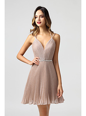 cheap Cocktail Dresses-Back To School A-Line Beautiful Back Minimalist Holiday Homecoming Dress Spaghetti Strap Sleeveless Short / Mini Spandex with Sash / Ribbon Pleats 2020 Hoco Dress
