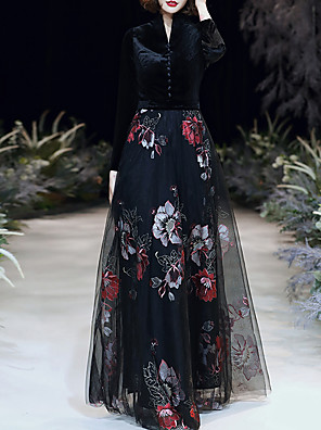 cheap Evening Dresses-A-Line Floral Black Party Wear Formal Evening Dress High Neck Long Sleeve Floor Length Tulle Velvet with Buttons Pattern / Print 2020