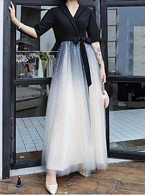 cheap Prom Dresses-A-Line Color Block Black Party Wear Prom Dress V Neck Half Sleeve Floor Length Lace Satin Spandex with Bow(s) 2020