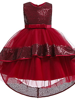 cheap Flower Girl Dresses-Ball Gown Ankle Length Pageant Flower Girl Dresses - Polyester Sleeveless Jewel Neck with Bow(s) / Appliques