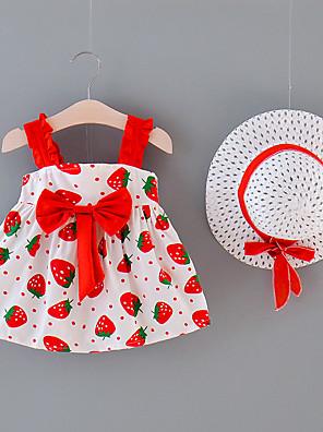 cheap Baby Girls' One-Piece-Baby Girls' Basic Fruit Bow Sleeveless Above Knee Dress Yellow