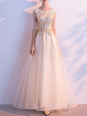 cheap Prom Dresses-A-Line Elegant Sparkle Prom Formal Evening Dress Jewel Neck Half Sleeve Floor Length Tulle with Appliques 2020