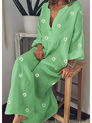 cheap Romantic Lace Dresses-Women's Maxi A Line Dress - Long Sleeve Floral Floral Spring Summer V Neck Vacation Loose Yellow Green Light Blue M L XL XXL XXXL XXXXL XXXXXL / Cotton