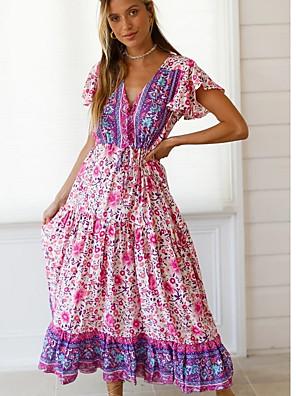 cheap Prom Dresses-Women's Maxi A Line Dress - Short Sleeves Print V Neck Blushing Pink S M L XL