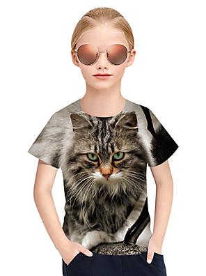 cheap Girls' Dresses-Kids Girls' Active Punk & Gothic 3D Plaid Animal Short Sleeve Tee Gray