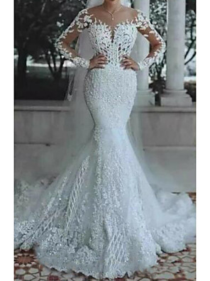 cheap Wedding Dresses-Mermaid / Trumpet Wedding Dresses V Neck Floor Length Lace Polyester Long Sleeve Country Casual Plus Size Illusion Sleeve with Draping Appliques 2020