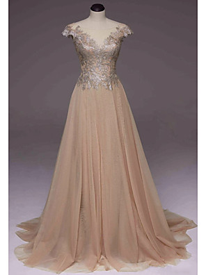 cheap Evening Dresses-A-Line Elegant Luxurious Engagement Prom Dress Illusion Neck Short Sleeve Sweep / Brush Train Polyester with Pleats Appliques 2020