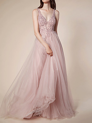 cheap Prom Dresses-A-Line Elegant Pink Engagement Prom Dress V Neck Sleeveless Sweep / Brush Train Tulle with Pleats Beading 2020