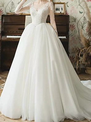 cheap Wedding Dresses-A-Line Wedding Dresses V Neck Sweep / Brush Train Tulle Long Sleeve Beach Illusion Sleeve with Lace Insert Embroidery 2020